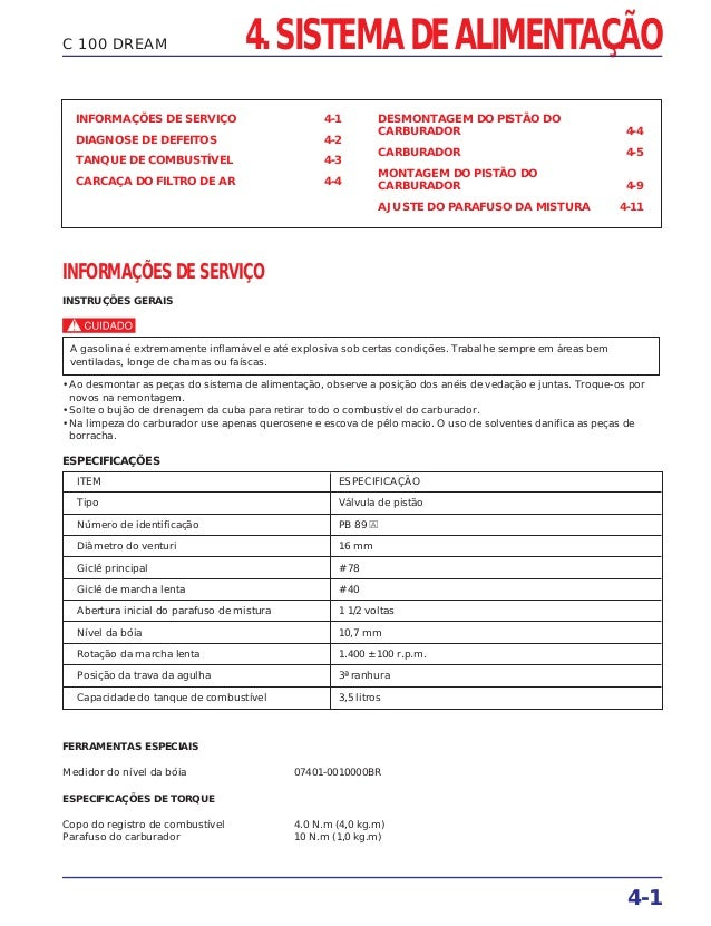 4. SISTEMA DE ALIMENTAÇÃO 4-1 C 100 DREAM INFORMAÇÕES DE SERVIÇO 4-1 DIAGNOSE DE DEFEITOS 4-2 TANQUE DE COMBUSTÍVEL 4-3 CA...