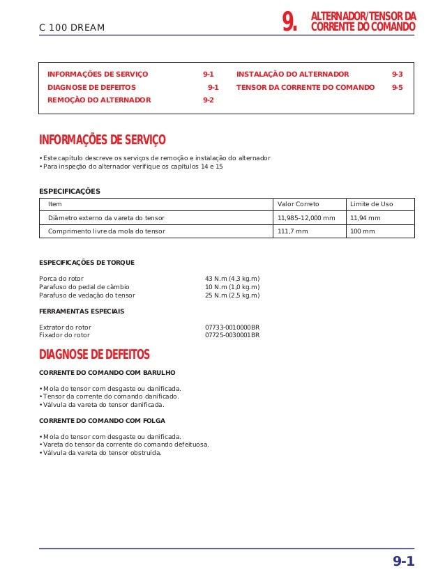 9. ALTERNADOR/TENSOR DA CORRENTE DO COMANDO 9-1 C 100 DREAM INFORMAÇÕES DE SERVIÇO 9-1 DIAGNOSE DE DEFEITOS 9-1 REMOÇÃO DO...