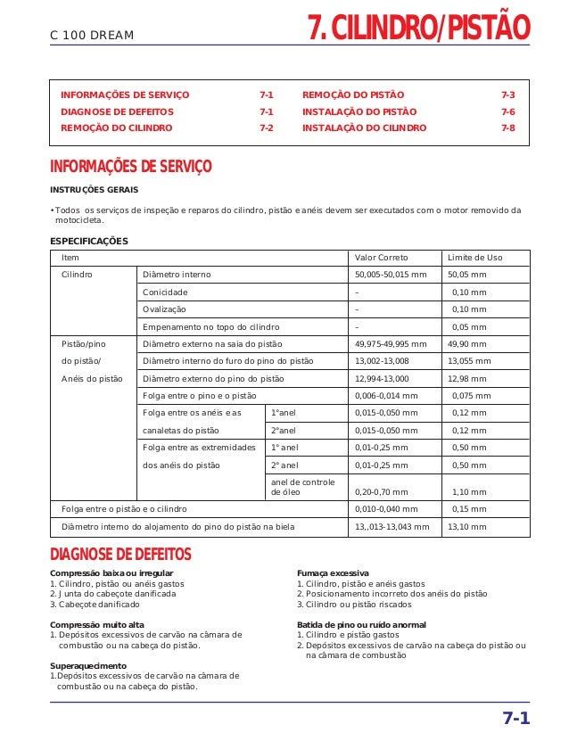 7. CILINDRO/PISTÃO 7-1 C 100 DREAM INFORMAÇÕES DE SERVIÇO 7-1 DIAGNOSE DE DEFEITOS 7-1 REMOÇÃO DO CILINDRO 7-2 REMOÇÃO DO ...
