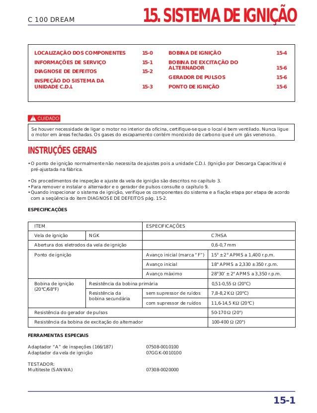 15. SISTEMA DE IGNIÇÃO 15-1 C 100 DREAM LOCALIZAÇÃO DOS COMPONENTES 15-0 INFORMAÇÕES DE SERVIÇO 15-1 DIAGNOSE DE DEFEITOS ...