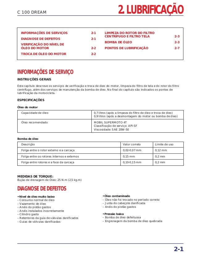 2. LUBRIFICAÇÃO 2-1 C 100 DREAM INFORMAÇÕES DE SERVIÇOS 2-1 DIAGNOSE DE DEFEITOS 2-1 VERIFICAÇÃO DO NÍVEL DE ÓLEO DO MOTOR...