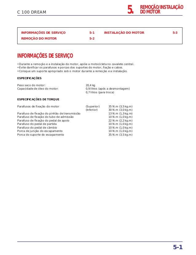 5. REMOÇÃO/INSTALAÇÃO DO MOTOR 5-1 C 100 DREAM INFORMAÇÕES DE SERVIÇO 5-1 REMOÇÃO DO MOTOR 5-2 INSTALAÇÃO DO MOTOR 5-3 INF...