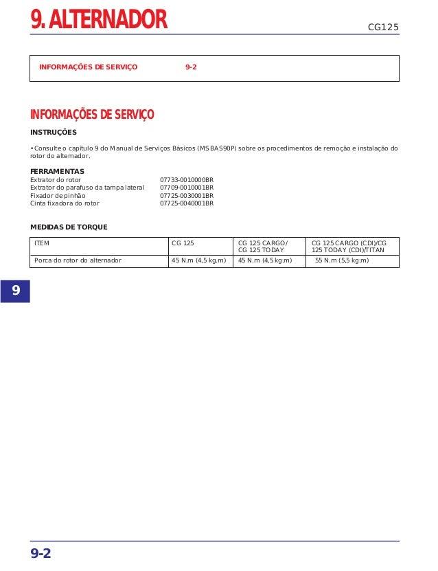 9-2 CG125 INFORMAÇÕES DE SERVIÇO 9-2 INFORMAÇÕES DE SERVIÇO INSTRUÇÕES • Consulte o capítulo 9 do Manual de Serviços Básic...