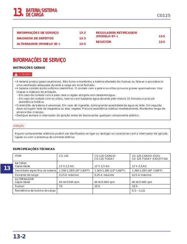 CG125 INFORMAÇÕES DE SERVIÇO 13-2 DIAGNOSE DE DEFEITOS 13-3 ALTERNADOR (MODELO 92~) 13-5 REGULADOR/RETIFICADOR (MODELO 87~...