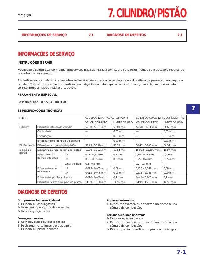 7. CILINDRO/PISTÃO 7-1 CG125 INFORMAÇÕES DE SERVIÇO 7-1 DIAGNOSE DE DEFEITOS 7-1 INFORMAÇÕES DE SERVIÇO INSTRUÇÕES GERAIS ...