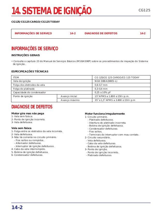 CG125 INFORMAÇÕES DE SERVIÇO 14-2 DIAGNOSE DE DEFEITOS 14-2 INFORMAÇÕES DE SERVIÇO INSTRUÇÕES GERAIS • Consulte o capítulo...