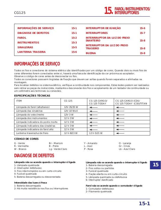 15. FAROL/INSTRUMENTOS/ INTERRUPTORES INFORMAÇÕES DE SERVIÇO 15-1 DIAGNOSE DE DEFEITOS 15-1 FAROL 15-2 INSTRUMENTOS 15-3 S...