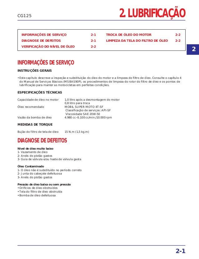 2. LUBRIFICAÇÃO INFORMAÇÕES DE SERVIÇO 2-1 DIAGNOSE DE DEFEITOS 2-1 VERIFICAÇÃO DO NÍVEL DE ÓLEO 2-2 TROCA DE ÓLEO DO MOTO...