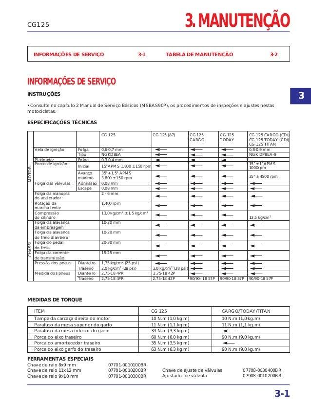 INFORMAÇÕES DE SERVIÇO 3-1 TABELA DE MANUTENÇÃO 3-2 3. MANUTENÇÃO INFORMAÇÕES DE SERVIÇO INSTRUÇÕES • Consulte no capítulo...