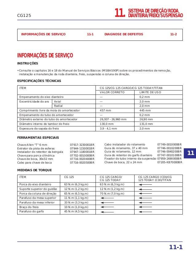 INFORMAÇÕES DE SERVIÇO 11-1 DIAGNOSE DE DEFEITOS 11-2 INFORMAÇÕES DE SERVIÇO INSTRUÇÕES • Consulte o capítulos 16 e 18 do ...