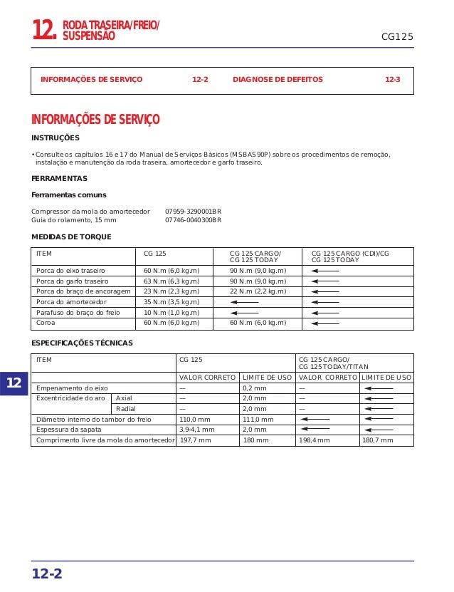 CG125 INFORMAÇÕES DE SERVIÇO 12-2 DIAGNOSE DE DEFEITOS 12-3 INFORMAÇÕES DE SERVIÇO INSTRUÇÕES • Consulte os capítulos 16 e...