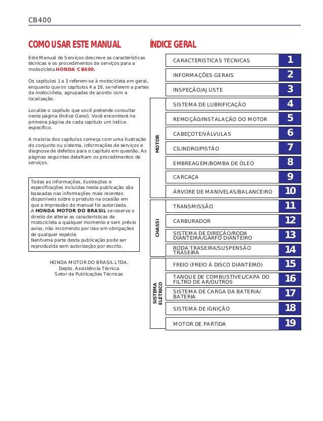 CB400 1CARACTERISTICAS TÉCNICAS 2INFORMAÇÕES GERAIS 3INSPEÇÃO/AJUSTE 4SISTEMA DE LUBRIFICAÇÃO 5REMOÇÃO/INSTALAÇÃO DO MOTOR...