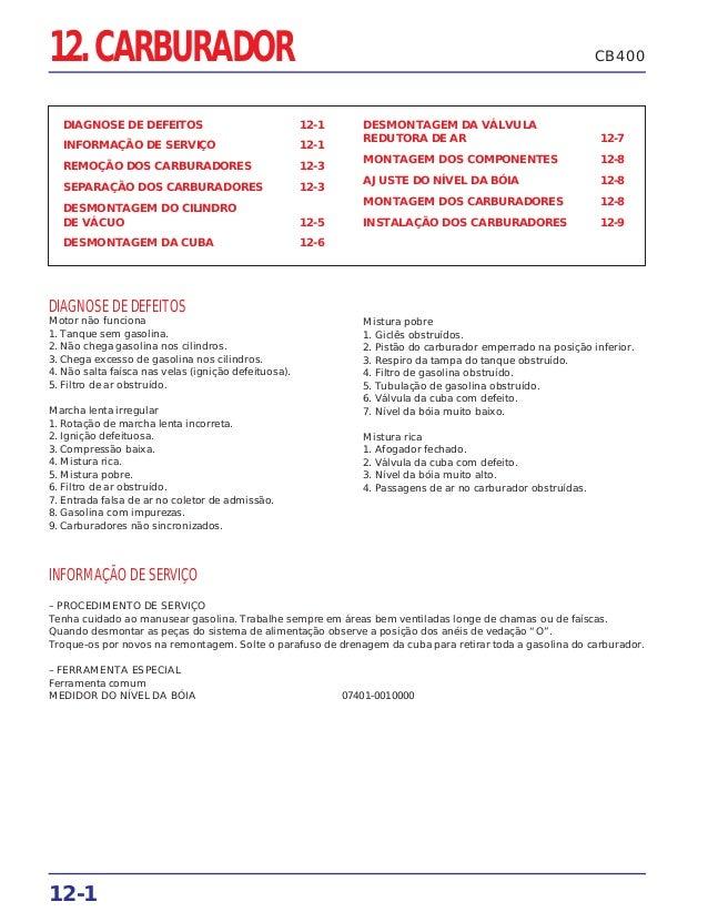 12-1 CB40012. CARBURADOR DIAGNOSE DE DEFEITOS 12-1 INFORMAÇÃO DE SERVIÇO 12-1 REMOÇÃO DOS CARBURADORES 12-3 SEPARAÇÃO DOS ...