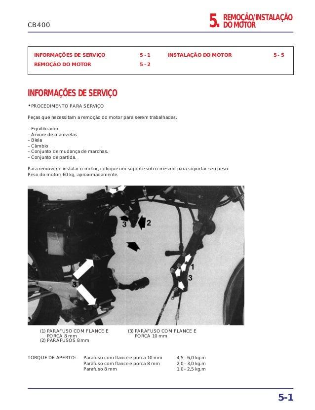 INFORMAÇÕES DE SERVIÇO 5 - 1 REMOÇÃO DO MOTOR 5 - 2 INSTALAÇÃO DO MOTOR 5 - 5 INFORMAÇÕES DE SERVIÇO • PROCEDIMENTO PARA S...