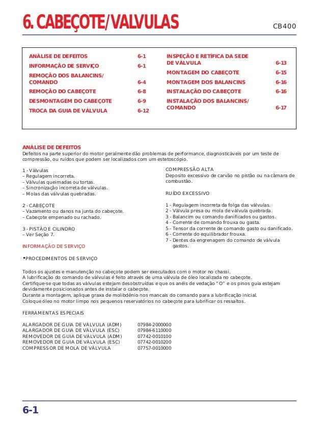 6. CABEÇOTE/VALVULAS ANÁLISE DE DEFEITOS 6-1 INFORMAÇÃO DE SERVIÇO 6-1 REMOÇÃO DOS BALANCINS/ COMANDO 6-4 REMOÇÃO DO CABEÇ...