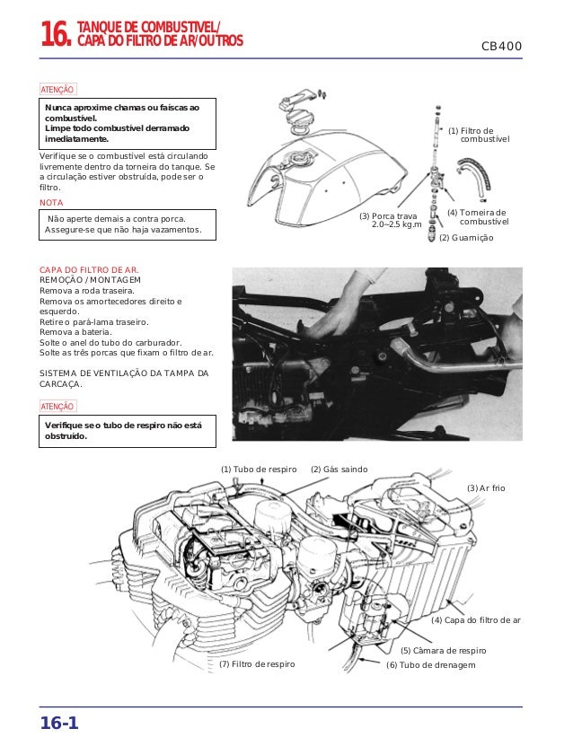 16-1 CB40016. TANQUE DE COMBUSTIVEL/ CAPA DO FILTRO DE AR/OUTROS Verifique se o combustível está circulando livremente den...