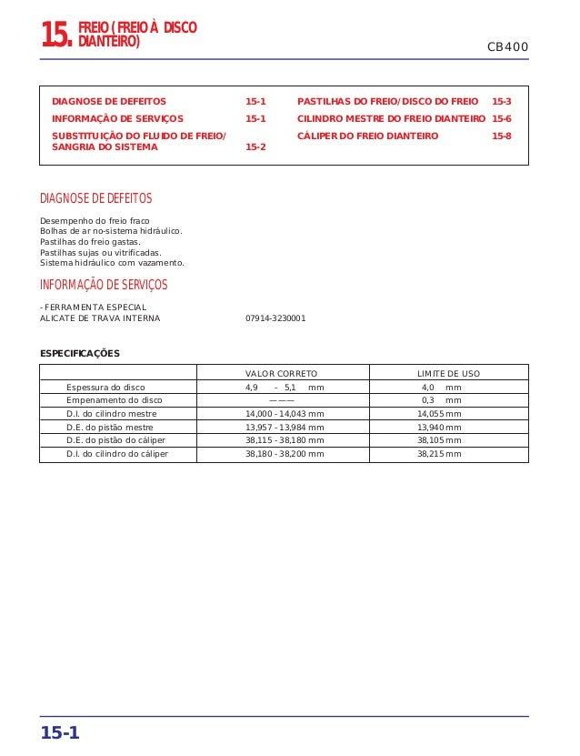 15-1 DIAGNOSE DE DEFEITOS 15-1 INFORMAÇÃO DE SERVIÇOS 15-1 SUBSTITUIÇÃO DO FLUIDO DE FREIO/ SANGRIA DO SISTEMA 15-2 PASTIL...