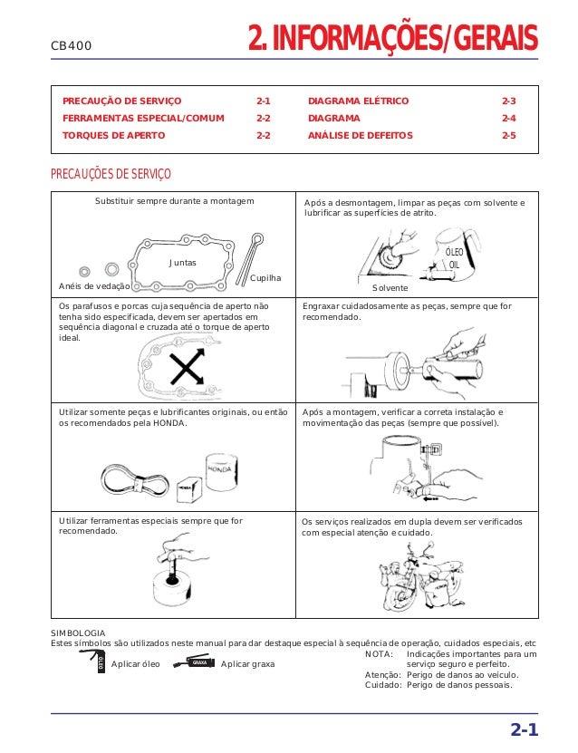 2. INFORMAÇÕES/GERAIS PRECAUÇÃO DE SERVIÇO 2-1 FERRAMENTAS ESPECIAL/COMUM 2-2 TORQUES DE APERTO 2-2 DIAGRAMA ELÉTRICO 2-3 ...