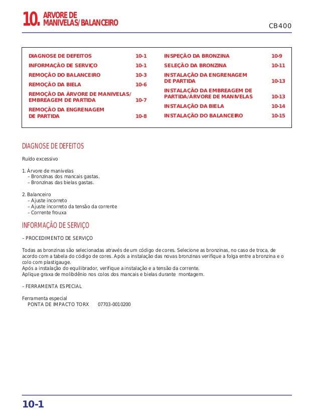 10-1 DIAGNOSE DE DEFEITOS 10-1 INFORMAÇÃO DE SERVIÇO 10-1 REMOÇÃO DO BALANCEIRO 10-3 REMOÇÃO DA BIELA 10-6 REMOÇÃO DA ÁRVO...