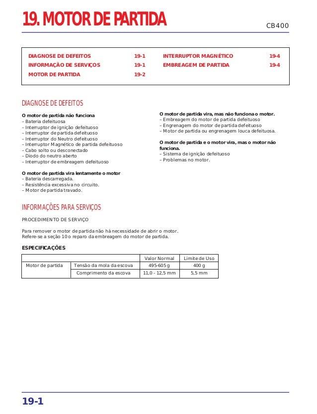 19-1 CB40019. MOTOR DE PARTIDA DIAGNOSE DE DEFEITOS 19-1 INFORMAÇÃO DE SERVIÇOS 19-1 MOTOR DE PARTIDA 19-2 INTERRUPTOR MAG...