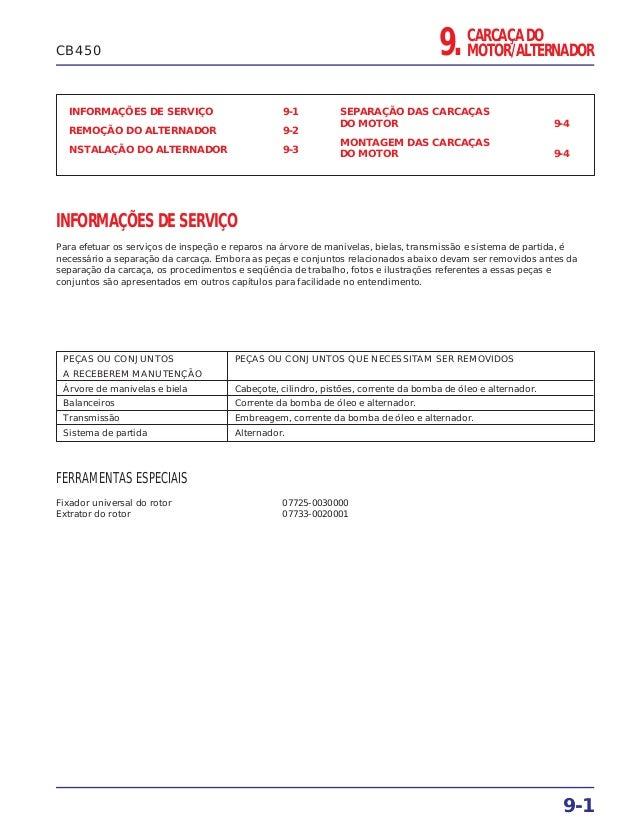 CARCAÇA DO MOTOR/ALTERNADOR9. INFORMAÇÕES DE SERVIÇO 9-1 REMOÇÃO DO ALTERNADOR 9-2 NSTALAÇÃO DO ALTERNADOR 9-3 SEPARAÇÃO D...