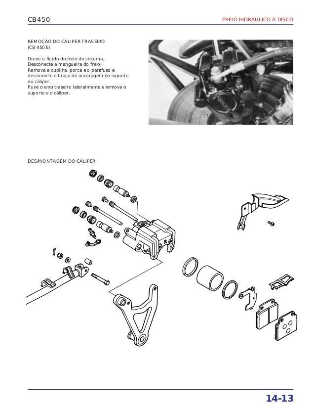 Manual de serviço cb450 e cb450 custom (1983) ms443831 p freio