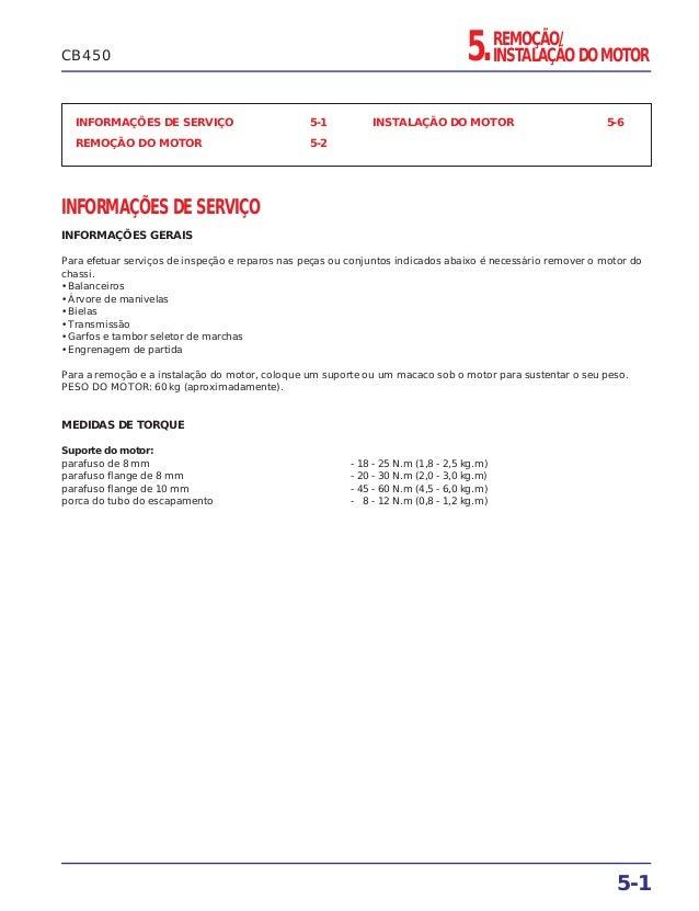 REMOÇÃO/ INSTALAÇÃO DO MOTOR5. INFORMAÇÕES DE SERVIÇO 5-1 REMOÇÃO DO MOTOR 5-2 INSTALAÇÃO DO MOTOR 5-6 INFORMAÇÕES DE SERV...