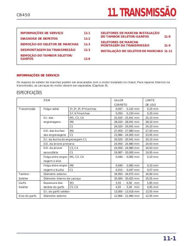 11. TRANSMISSÃO INFORMAÇÕES DE SERVIÇO 11-1 DIAGNOSE DE DEFEITOS 11-2 REMOÇÃO DO SELETOR DE MARCHAS 11-3 DESMONTAGEM DA TR...
