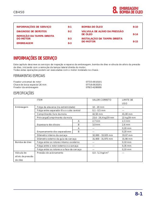 EMBREAGEM/ BOMBA DE ÓLEO8. INFORMAÇÕES DE SERVIÇO 8-1 DIAGNOSE DE DEFEITOS 8-2 REMOÇÃO DA TAMPA DIREITA DO MOTOR 8-3 EMBRE...