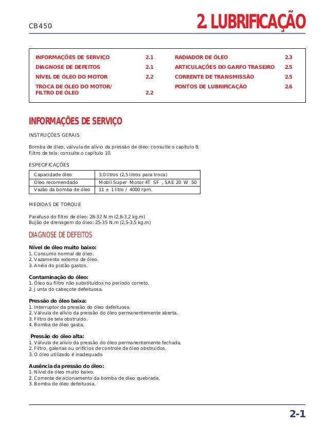 2. LUBRIFICAÇÃO INFORMAÇÕES DE SERVIÇO 2.1 DIAGNOSE DE DEFEITOS 2.1 NÍVEL DE ÓLEO DO MOTOR 2.2 TROCA DE ÓLEO DO MOTOR/ FIL...