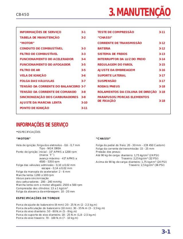 """3. MANUTENÇÃO 3-1 CB450 INFORMAÇÕES DE SERVIÇO 3-1 TABELA DE MANUTENÇÃO 3-2 """"MOTOR"""" CONDUTO DE COMBUSTÍVEL 3-3 FILTRO DE C..."""