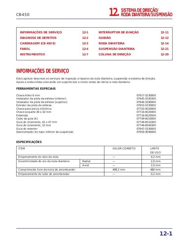 SISTEMA DE DIREÇÃO/ RODA DIANTEIRA/SUSPENSÃO12. INFORMAÇÕES DE SERVIÇO 12-1 DIAGNOSE DE DEFEITOS 12-2 CARENAGEM (CB 450 E)...