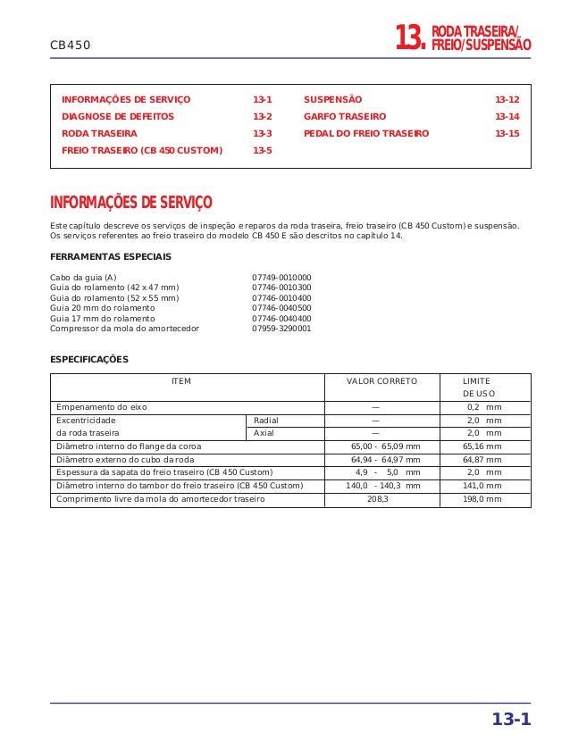 RODA TRASEIRA/ FREIO/SUSPENSÃO13. INFORMAÇÕES DE SERVIÇO 13-1 DIAGNOSE DE DEFEITOS 13-2 RODA TRASEIRA 13-3 FREIO TRASEIRO ...