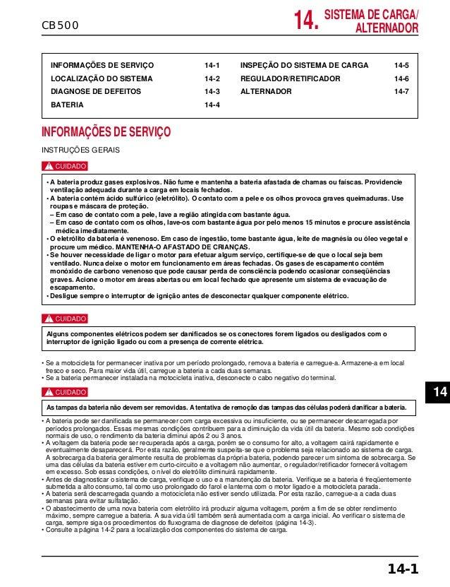14. SISTEMA DE CARGA/ ALTERNADORCB500 INFORMAÇÕES DE SERVIÇO 14-1 LOCALIZAÇÃO DO SISTEMA 14-2 DIAGNOSE DE DEFEITOS 14-3 BA...
