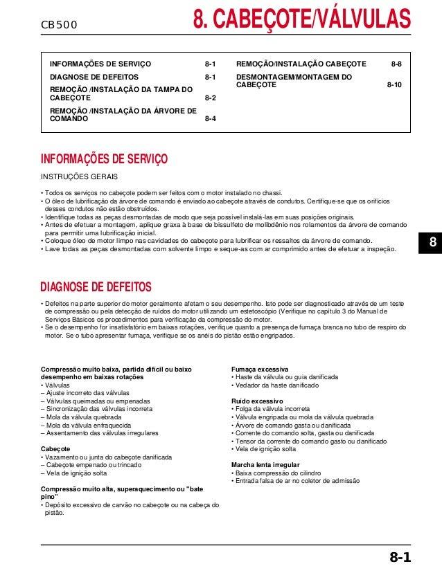 CB500 8. CABEÇOTE/VÁLVULAS INFORMAÇÕES DE SERVIÇO 8-1 DIAGNOSE DE DEFEITOS 8-1 REMOÇÃO /INSTALAÇÃO DA TAMPA DO CABEÇOTE 8-...