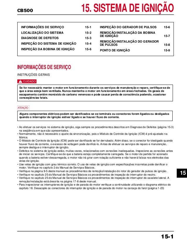 CB500 15. SISTEMA DE IGNIÇÃO INFORMAÇÕES DE SERVIÇO 15-1 LOCALIZAÇÃO DO SISTEMA 15-2 DIAGNOSE DE DEFEITOS 15-3 INSPEÇÃO DO...