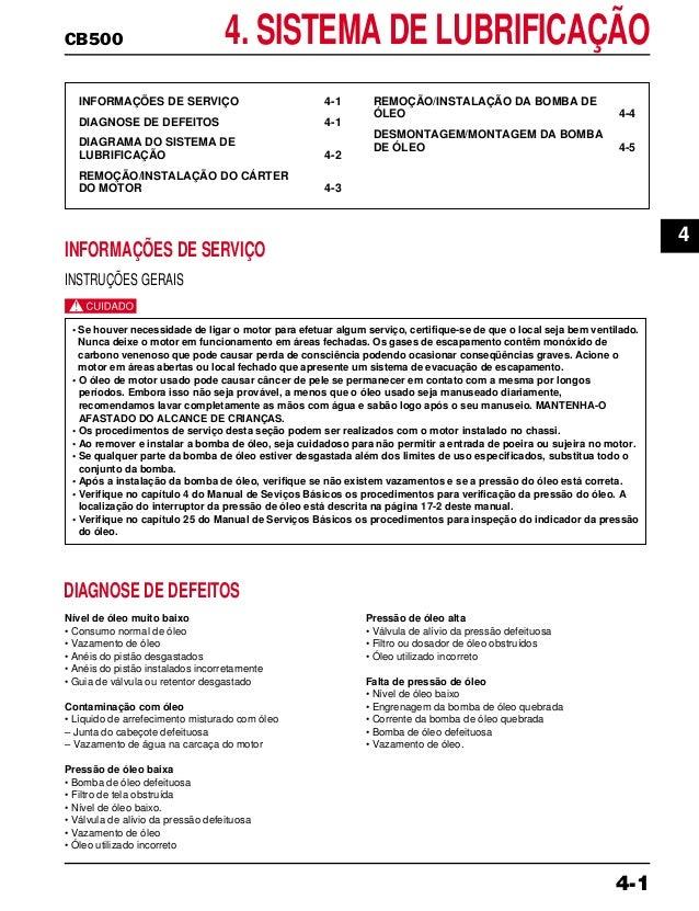 CB500 4. SISTEMA DE LUBRIFICAÇÃO INFORMAÇÕES DE SERVIÇO 4-1 DIAGNOSE DE DEFEITOS 4-1 DIAGRAMA DO SISTEMA DE LUBRIFICAÇÃO 4...