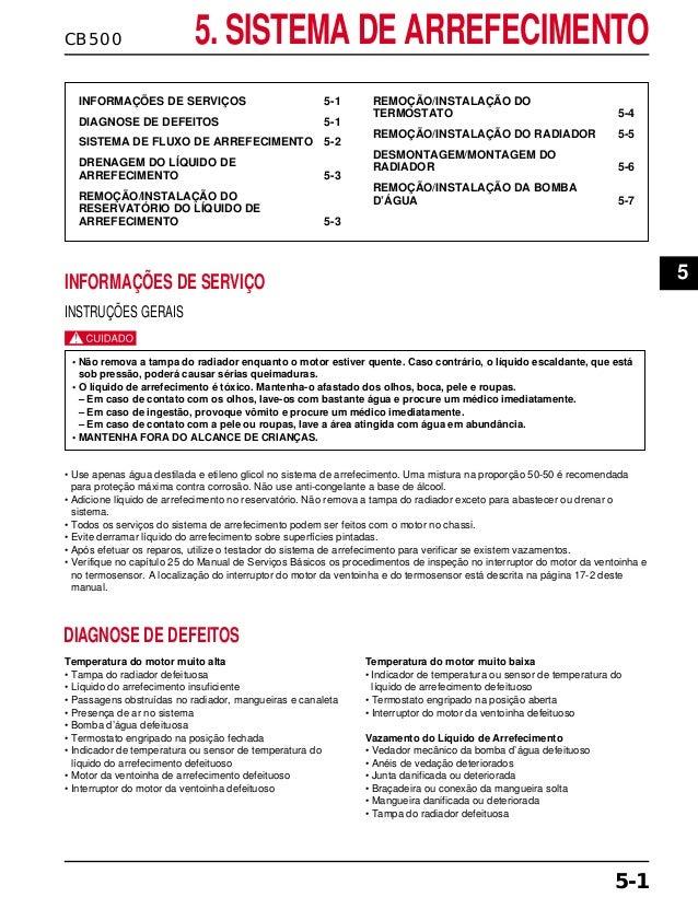 CB500 5. SISTEMA DE ARREFECIMENTO INFORMAÇÕES DE SERVIÇOS 5-1 DIAGNOSE DE DEFEITOS 5-1 SISTEMA DE FLUXO DE ARREFECIMENTO 5...