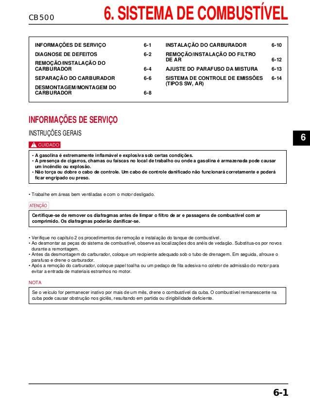 CB500 6. SISTEMA DE COMBUSTÍVEL INFORMAÇÕES DE SERVIÇO 6-1 DIAGNOSE DE DEFEITOS 6-2 REMOÇÃO/INSTALAÇÃO DO CARBURADOR 6-4 S...