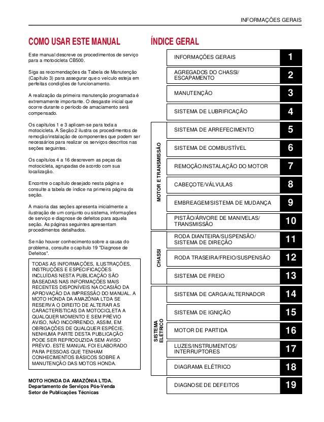 INFORMAÇÕES GERAIS COMO USAR ESTE MANUAL Este manual descreve os procedimentos de serviço para a motocicleta CB500. Siga a...
