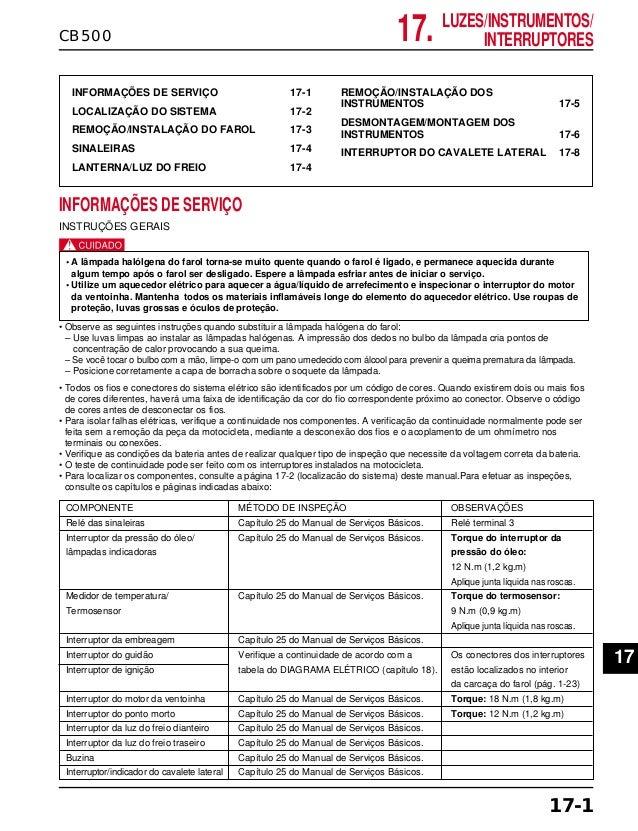 17. LUZES/INSTRUMENTOS/ INTERRUPTORESCB500 INFORMAÇÕES DE SERVIÇO 17-1 LOCALIZAÇÃO DO SISTEMA 17-2 REMOÇÃO/INSTALAÇÃO DO F...