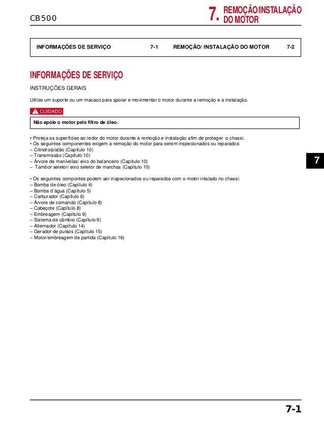 REMOÇÃO/INSTALAÇÃO DO MOTORCB500 7. INFORMAÇÕES DE SERVIÇO 7-1 REMOÇÃO/ INSTALAÇÃO DO MOTOR 7-2 INFORMAÇÕES DE SERVIÇO INS...