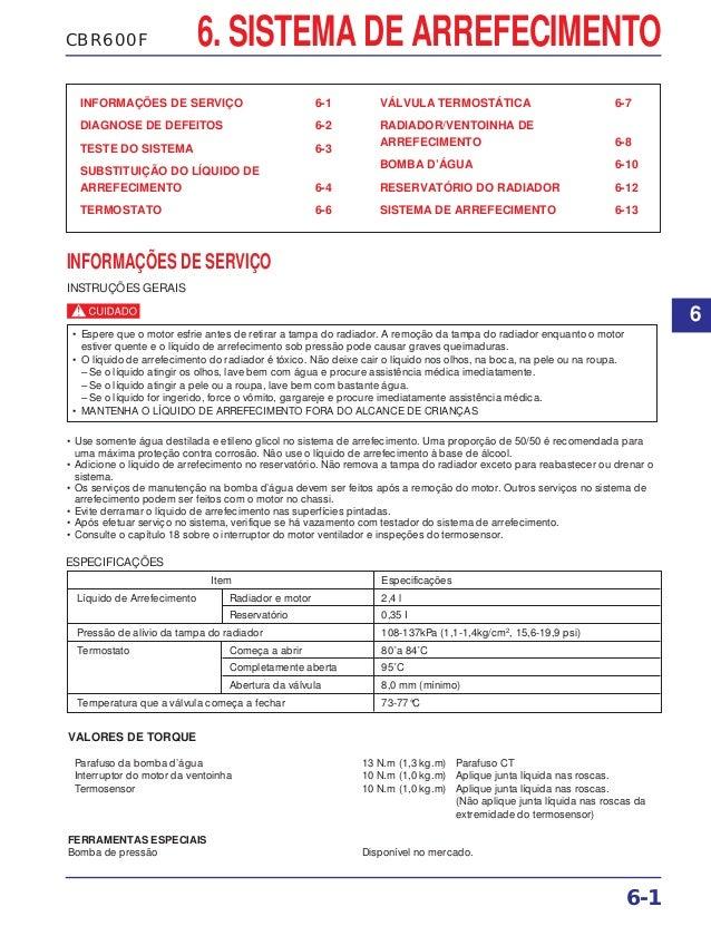 6. SISTEMA DE ARREFECIMENTOCBR600F INFORMAÇÕES DE SERVIÇO 6-1 DIAGNOSE DE DEFEITOS 6-2 TESTE DO SISTEMA 6-3 SUBSTITUIÇÃO D...