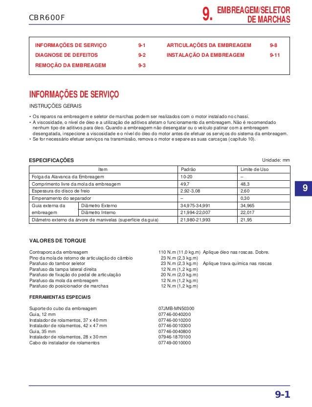 9. EMBREAGEM/SELETOR DE MARCHASCBR600F INFORMAÇÕES DE SERVIÇO 9-1 DIAGNOSE DE DEFEITOS 9-2 REMOÇÃO DA EMBREAGEM 9-3 ARTICU...