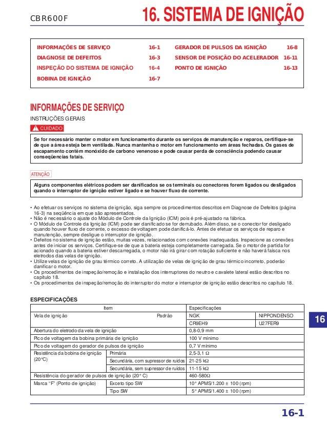 16. SISTEMA DE IGNIÇÃOCBR600F INFORMAÇÕES DE SERVIÇO 16-1 DIAGNOSE DE DEFEITOS 16-3 INSPEÇÃO DO SISTEMA DE IGNIÇÃO 16-4 BO...