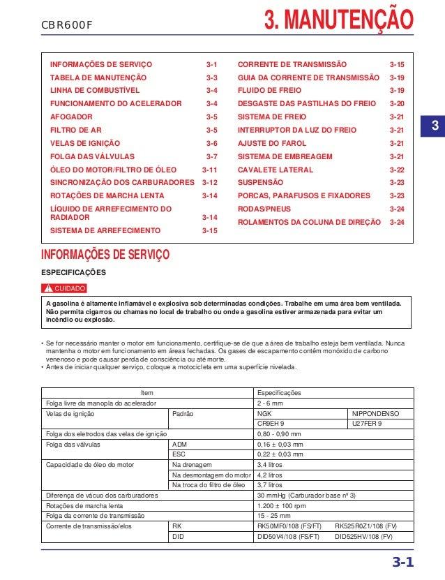 CBR600F 3. MANUTENÇÃO INFORMAÇÕES DE SERVIÇO 3-1 TABELA DE MANUTENÇÃO 3-3 LINHA DE COMBUSTÍVEL 3-4 FUNCIONAMENTO DO ACELER...