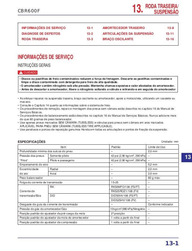 13. RODA TRASEIRA/ SUSPENSÃOCBR600F INFORMAÇÕES DE SERVIÇO 13-1 DIAGNOSE DE DEFEITOS 13-2 RODA TRASEIRA 13-3 AMORTECEDOR T...