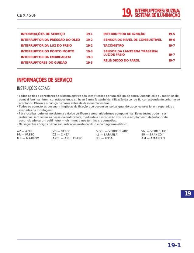 19. INTERRUPTORES/BUZINA/ SISTEMA DE ILUMINAÇÃO INFORMAÇÕES DE SERVIÇO 19-1 INTERRUPTOR DA PRESSÃO DO ÓLEO 19-2 INTERRUPTO...