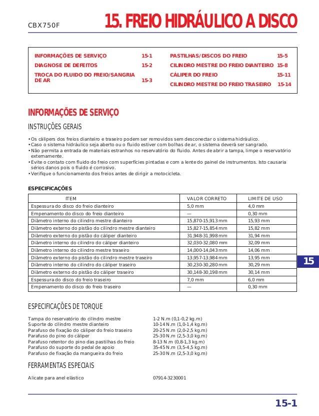 15. FREIO HIDRÁULICO A DISCO INFORMAÇÕES DE SERVIÇO 15-1 DIAGNOSE DE DEFEITOS 15-2 TROCA DO FLUIDO DO FREIO/SANGRIA DE AR ...