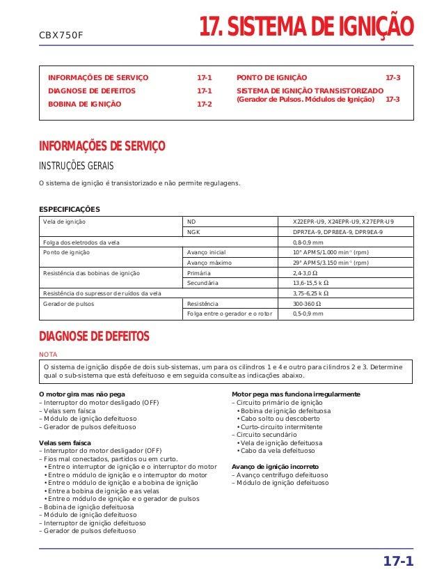 INFORMAÇÕES DE SERVIÇO 17-1 DIAGNOSE DE DEFEITOS 17-1 BOBINA DE IGNIÇÃO 17-2 PONTO DE IGNIÇÃO 17-3 SISTEMA DE IGNIÇÃO TRAN...